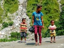 Children from Tharanche, Nepal - Annapurna trekking Stock Photos