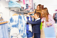 Children with their mother shopping together Stock Photography