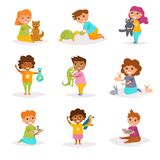 Children and their pets. Vector. Cartoon. Isolated art on white background. Flat Stock Photos