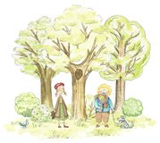 Watercolor boy and girl walking in the park stock illustration