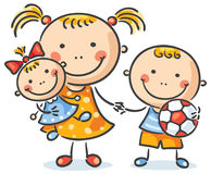 Children with their toys holding hands Stock Photo