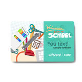 Children things and stationery. Sale discount gift card Stock Photo