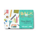 Children things and stationery. Sale discount gift card Stock Images