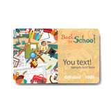 Children things and stationery. Sale discount gift card Royalty Free Stock Photos