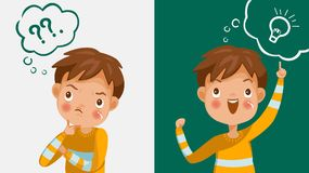 Children thinking. Boy thinking. Emotions and gestures. Think not, do not understand, Think out. The concept of learning and growing children. Cartoon stock illustration