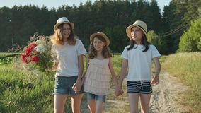 Children are three girls with bouquet of flowers holding hands walking along a country road. Summer holidays in nature, beautiful landscape, golden hour stock footage