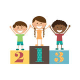 Children. Three kids on podium, vector illustration Royalty Free Stock Image