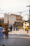Children Throwing Rocks Indian Police Kashmir Stock Images
