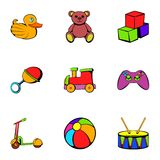 Children time icons set, cartoon style. Children time icons set. Cartoon illustration of 9 children time vector icons for web Royalty Free Stock Images