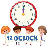 Children and time 12 o`clock. Illustration royalty free illustration