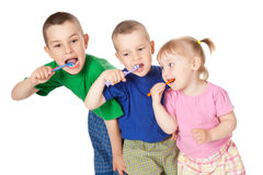 Children to brush his teeth Stock Images