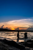 The children are to enjoy the sea. Parents bring the kids Songkhla sea travel on weekends Royalty Free Stock Images