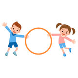 Children to the hula hoop Stock Images
