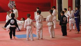 Children to practice martial arts stock video