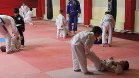 Children to practice martial arts stock footage