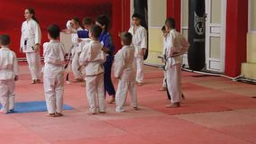 Children to practice martial arts stock video footage