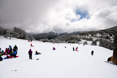 Children tobogganing in the mountains of Spain Royalty Free Stock Images
