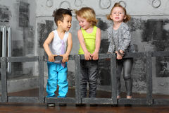 Children together carry stairs Royalty Free Stock Image