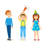 Children together celebrating the birthday by exploding firecrackers. Royalty Free Stock Photo