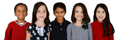 Children Together On White Background Stock Photo