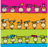 Children with tools. Set of doodle borders of happy kids with hardware tools Stock Photography