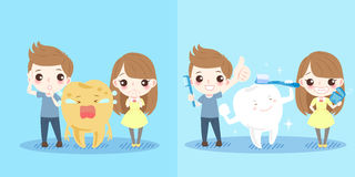 Children with tooth health. Cute cartoon children with tooth health on blue background Royalty Free Stock Images