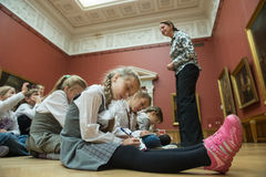Children on tour in the national museum of Russian art Royalty Free Stock Photos