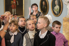Children on tour in the national museum of Russian art Stock Image