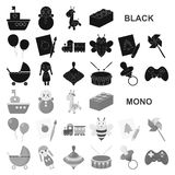 Children toy black icons in set collection for design. Game and bauble vector symbol stock web illustration. royalty free illustration
