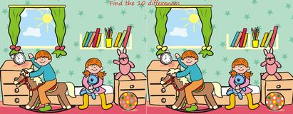 Children and toy- find 10 differences. Search the ten differences in the figures - children room Royalty Free Stock Images