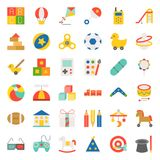 Children toy flat icon set 2/3. Children toy such as ball, rocking horse, blocks, balloon, flat icon set 2/3 Stock Images