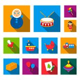 Children toy flat icons in set collection for design. Game and bauble vector symbol stock web illustration. Stock Image