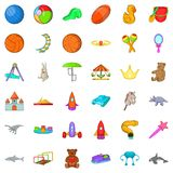 Children toy icons set, cartoon style. Children toy icons set. Cartoon style of 36 children toy vector icons for web isolated on white background Stock Images