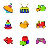 Children toy icons set, cartoon style. Children toy icons set. Cartoon illustration of 9 children toy vector icons for web Royalty Free Stock Image