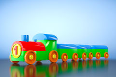Children Toy Multicolor Plastic Train. 3d rendering Royalty Free Stock Images