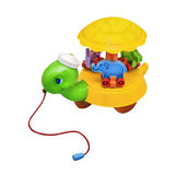Children toy, rumbling rolling turtle Royalty Free Stock Image