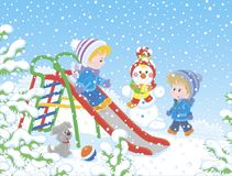 Children on a toy slide in a winter park. Kids playing on a snow-covered playground, vector illustration in a cartoon style stock illustration