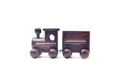 Children toy train made of wood Stock Photography