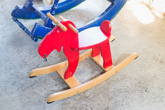 Children toy wooden rocking horse Royalty Free Stock Photos