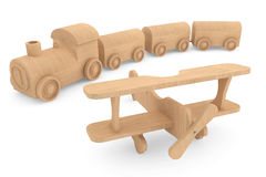 Children toy wooden train and airplane Royalty Free Stock Image