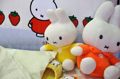 Children toys and bedding. For kids, shown as children's room interior and living environment Royalty Free Stock Photography