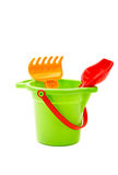 Children toys  bucket  shovel and  rake Royalty Free Stock Photos