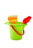 Children toys  bucket  shovel and  rake Royalty Free Stock Photos