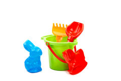 Children toys  bucket  shovel and  rake Stock Image