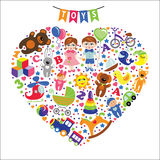 Children toys icons.Composition in the form of heart Stock Photo