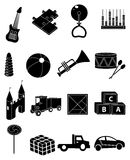 Children toys icons set Royalty Free Stock Photos