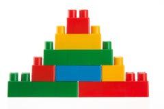 Children toys, Plastic building blocks isolated on white Stock Images