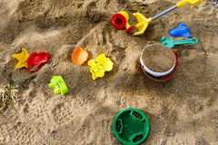 Children toys on sand or beach Stock Images