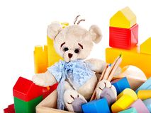 Children toys with teddy bear and cubes. Royalty Free Stock Photo