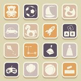 Children toys universal icons Royalty Free Stock Photos